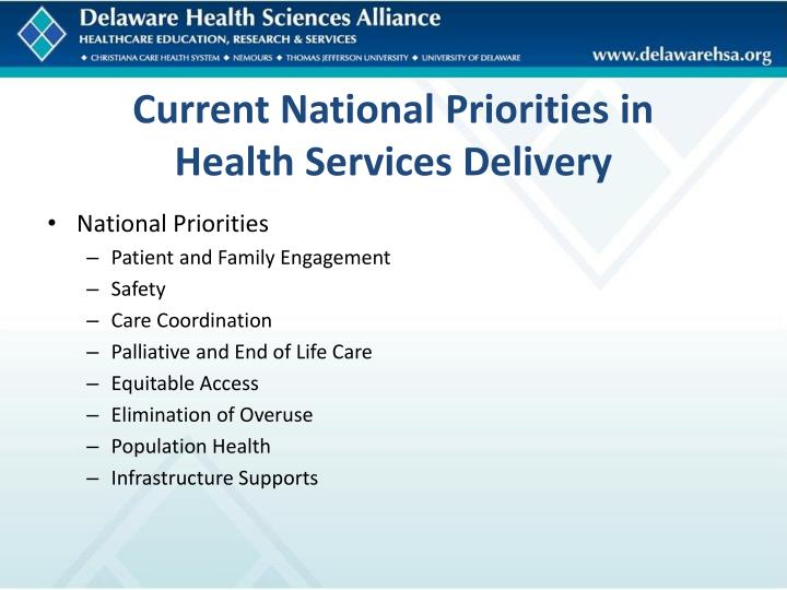 Current National Priorities in