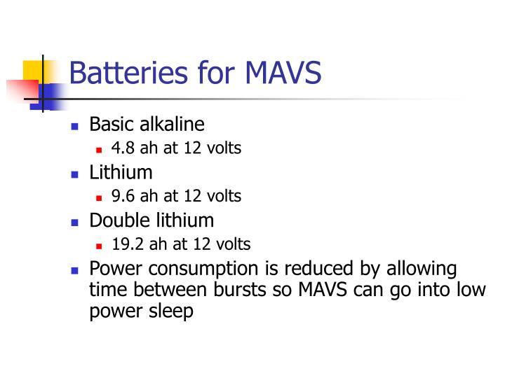 Batteries for MAVS