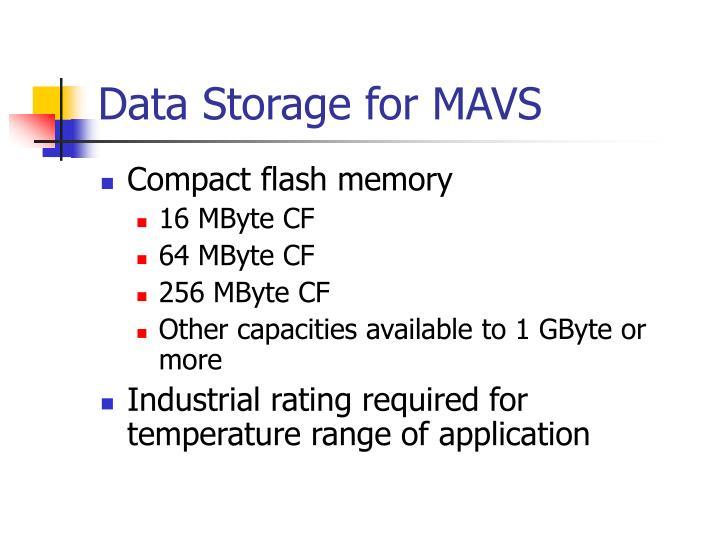 Data Storage for MAVS
