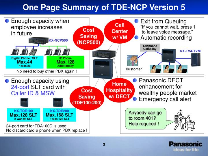 One Page Summary of TDE-NCP Version 5