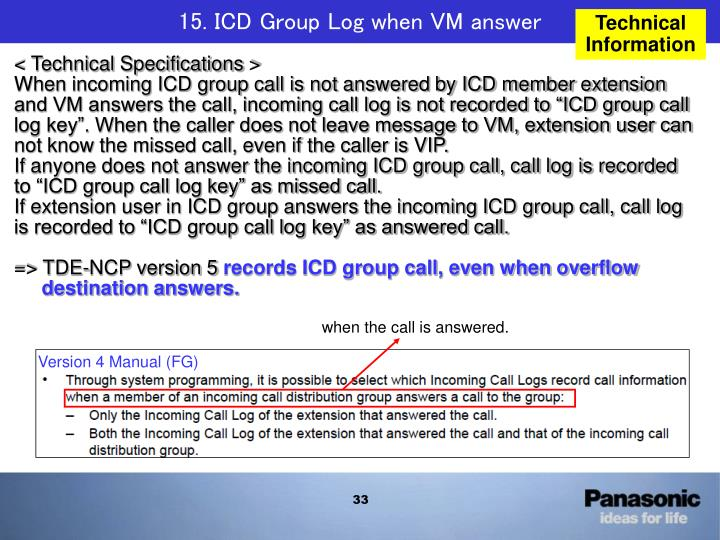15. ICD Group Log when VM answer