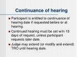 continuance of hearing