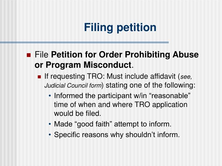 Filing petition