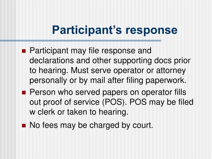 Participant's response