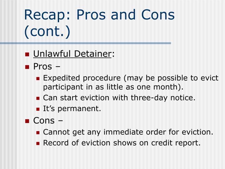 Recap: Pros and Cons (cont.)