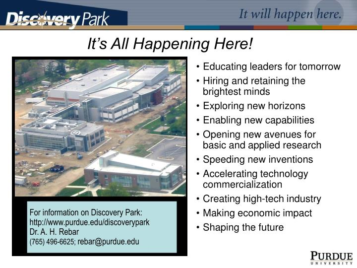 For information on Discovery Park: