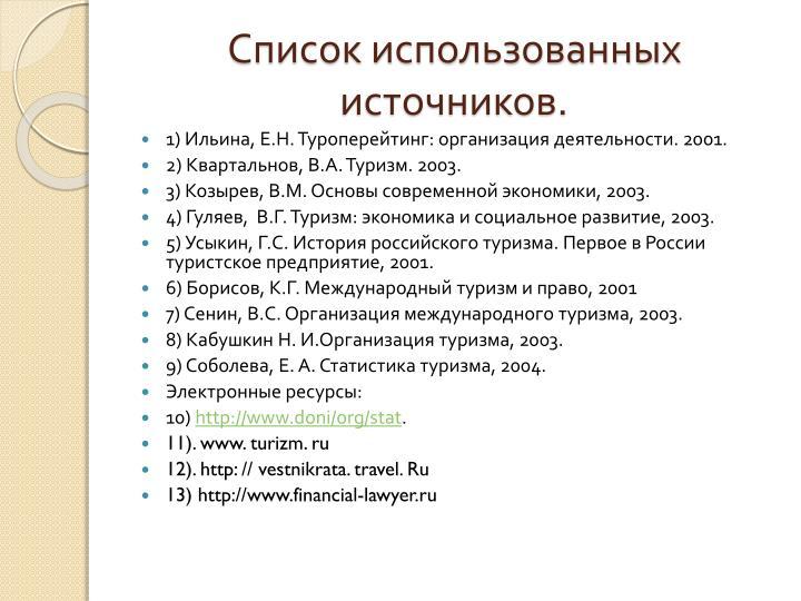Список использованных источников.