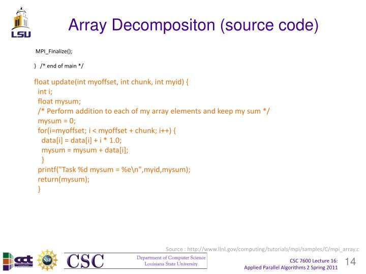 Array Decompositon (source code)