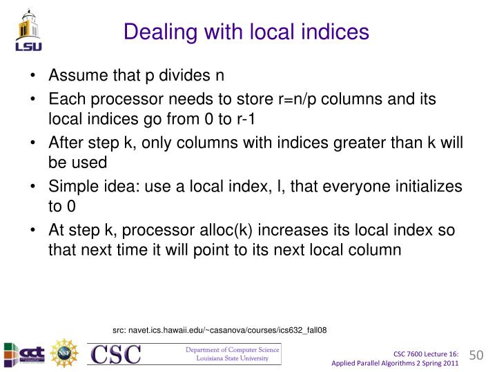Dealing with local indices