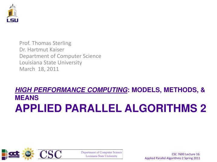 High performance computing models methods means applied parallel algorithms 2