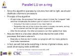 parallel lu on a ring