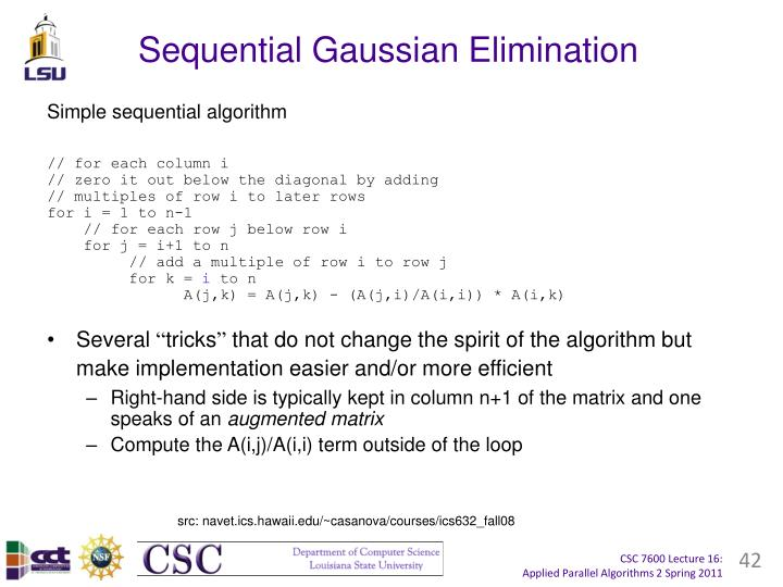 Sequential Gaussian Elimination