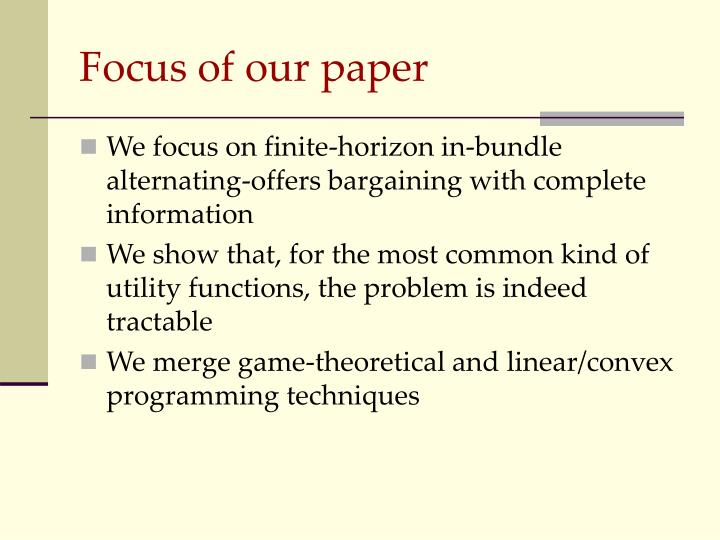 Focus of our paper