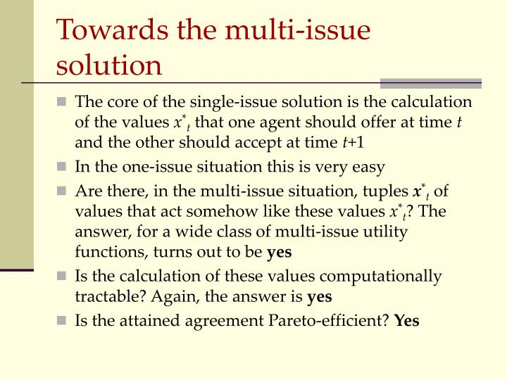 Towards the multi-issue solution