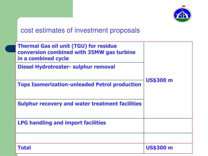 cost estimates of investment proposals