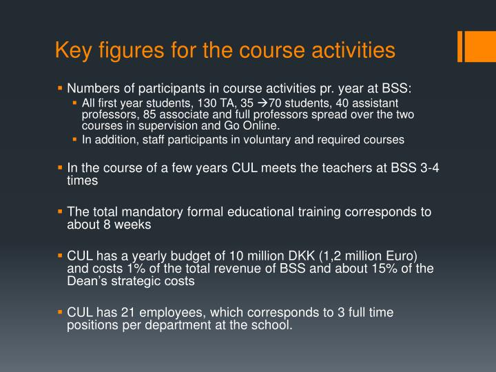 Key figures for the course activities