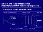 efficacy and safety of tocilizumab monotherapy in mtx inadequate responders
