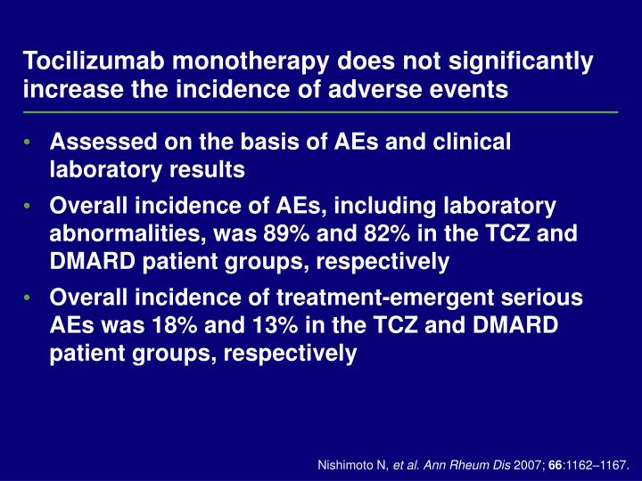 Tocilizumab monotherapy does not significantly increase the incidence of adverse events