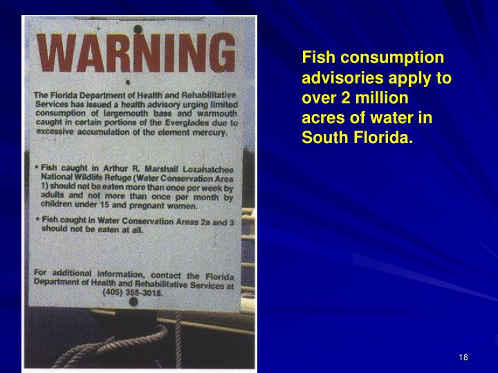 Fish consumption advisories apply to over 2 million acres of water in South Florida.