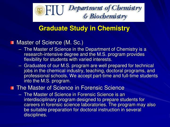 Graduate Study in Chemistry