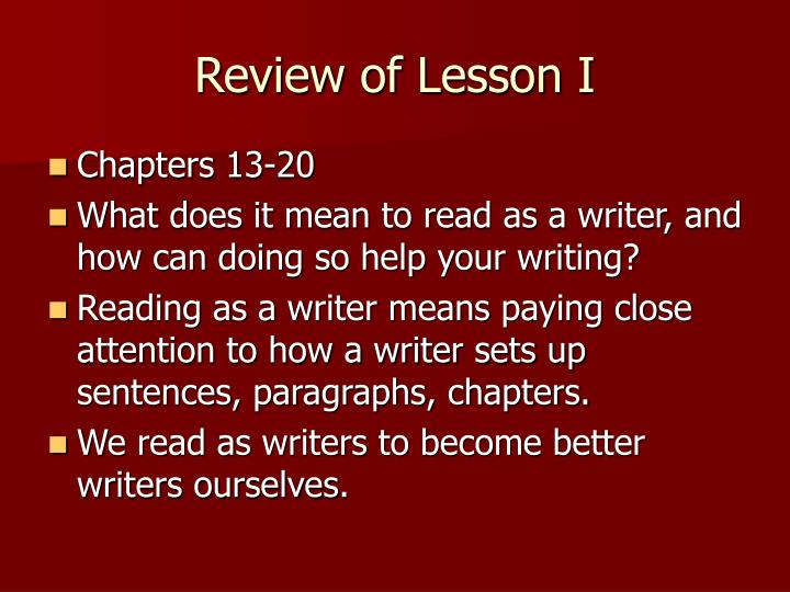 Review of Lesson I