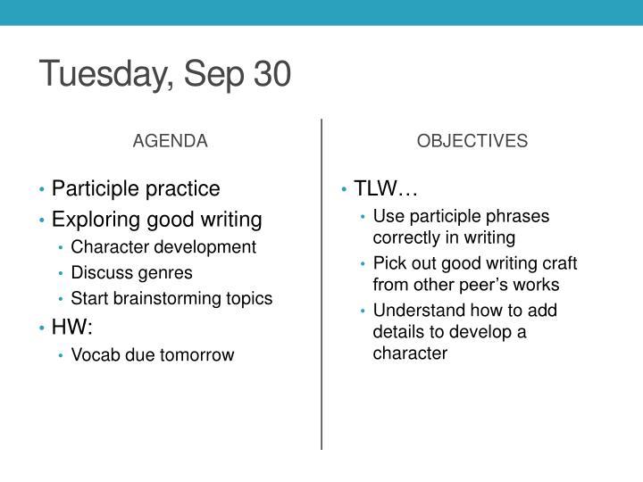 Tuesday, Sep 30