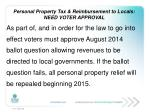personal property tax reimbursement to locals need voter approval