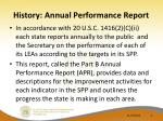 history annual performance report
