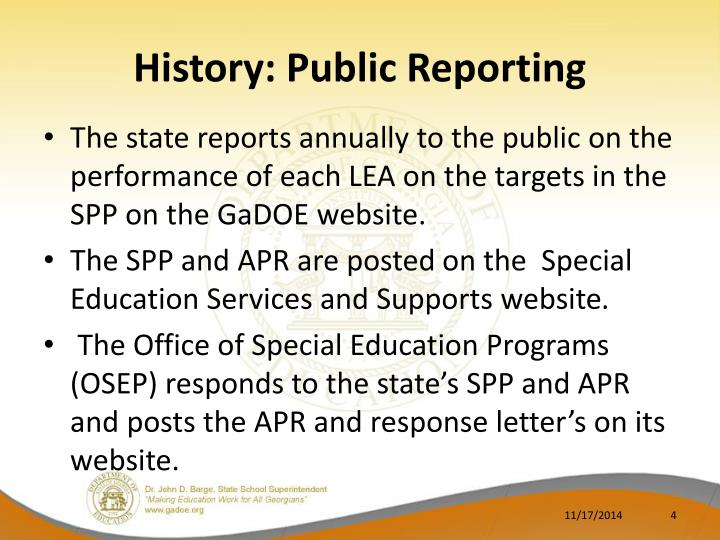 History: Public Reporting