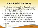 history public reporting