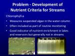 problem development of nutrient criteria for s treams