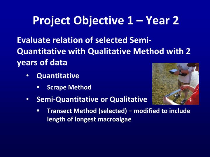 Project Objective 1 – Year 2