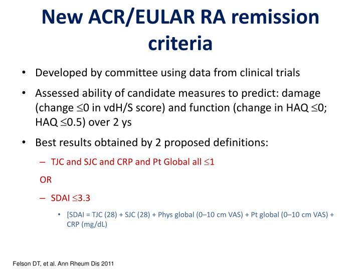 New ACR/EULAR RA remission criteria