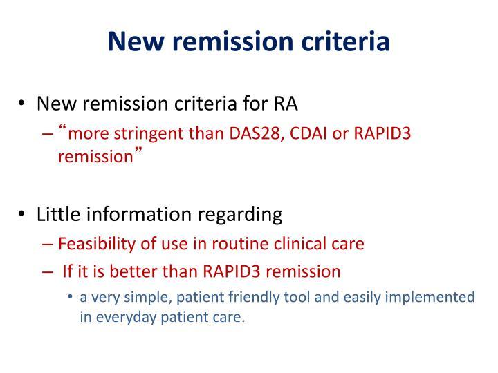 New remission criteria