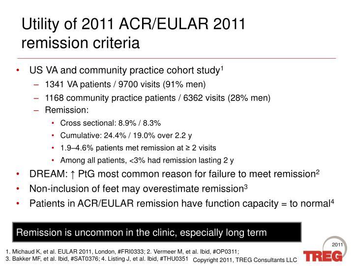 Utility of 2011 ACR/EULAR 2011