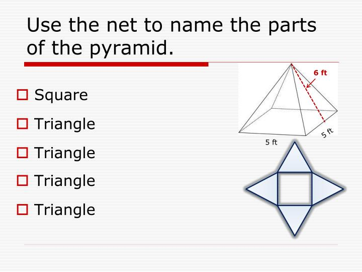 Use the net to name the parts of the pyramid.