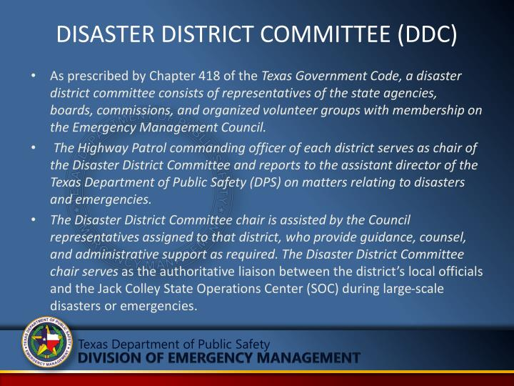 DISASTER DISTRICT COMMITTEE (DDC)