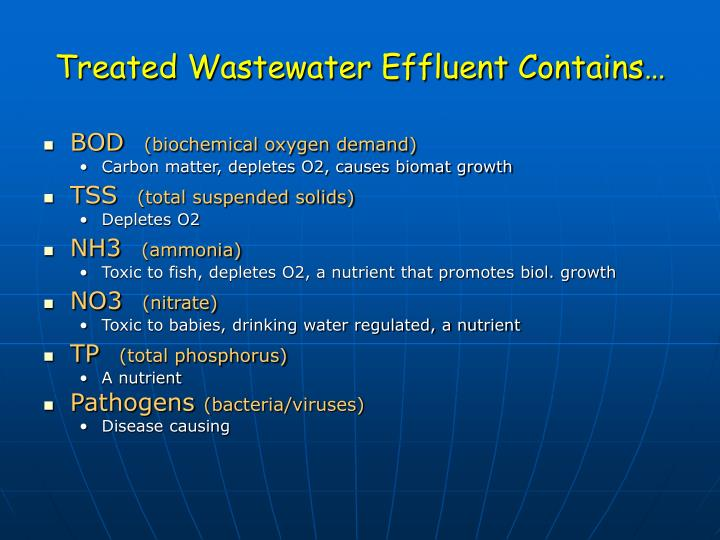 Treated Wastewater Effluent Contains…