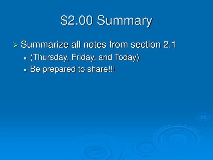 $2.00 Summary