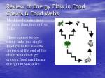 review of energy flow in food chains food webs