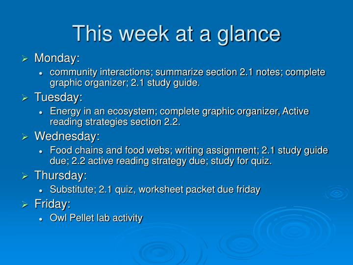 This week at a glance