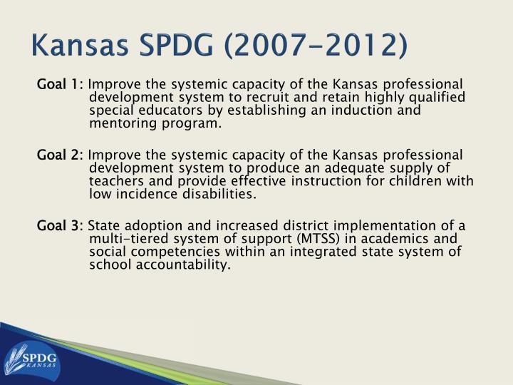 Kansas SPDG (2007-2012)