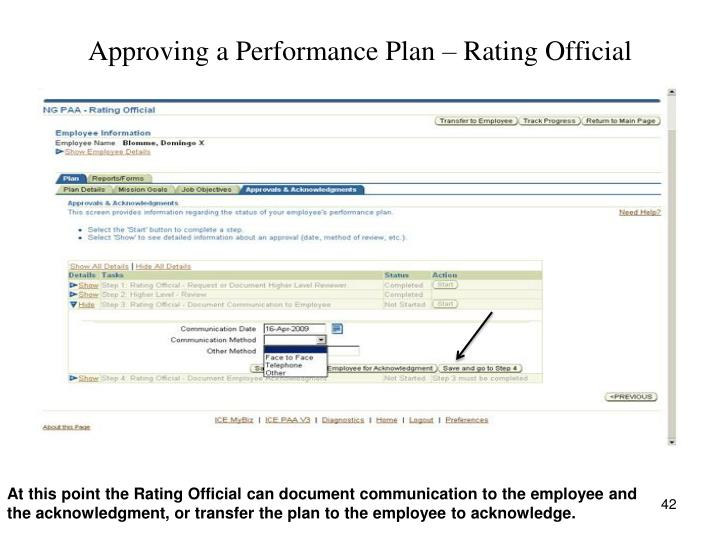 Approving a Performance Plan – Rating Official