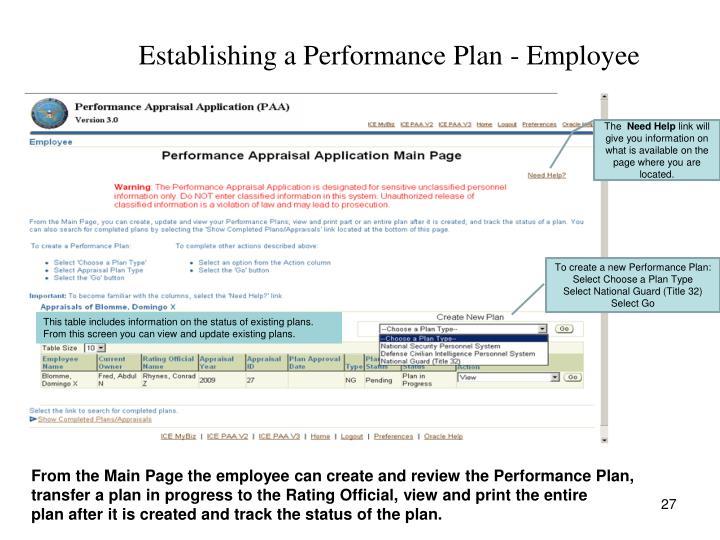 Establishing a Performance Plan - Employee