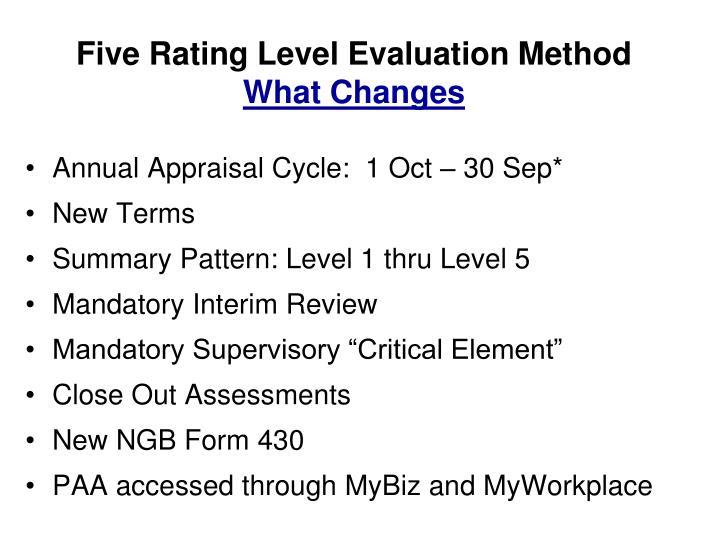 Five Rating Level Evaluation Method