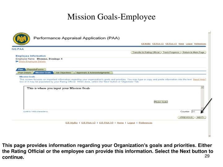 Mission Goals-Employee