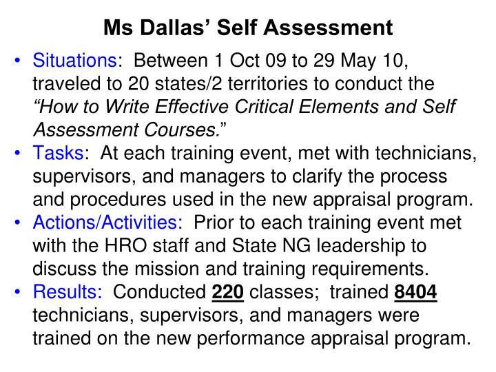 Ms Dallas' Self Assessment