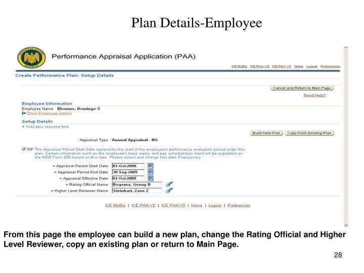 Plan Details-Employee