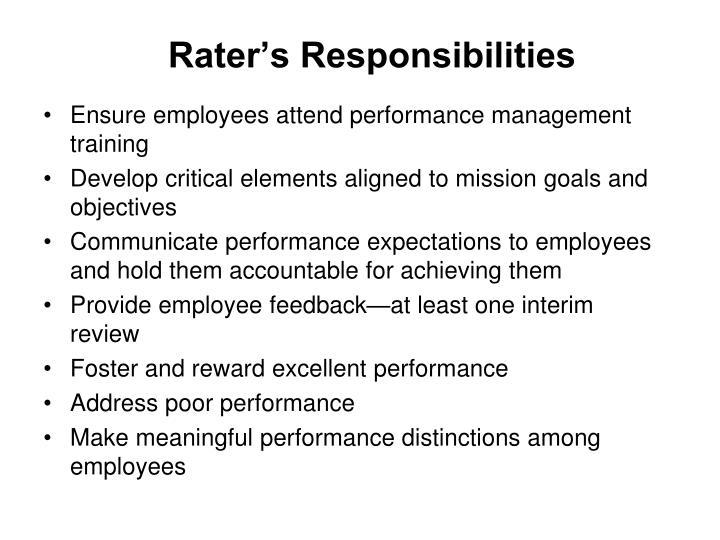 Rater's Responsibilities