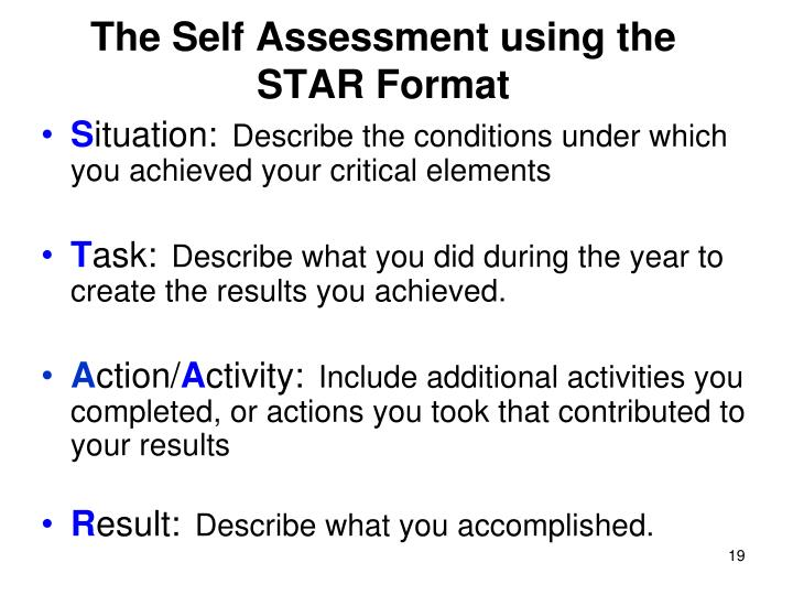 The Self Assessment using the